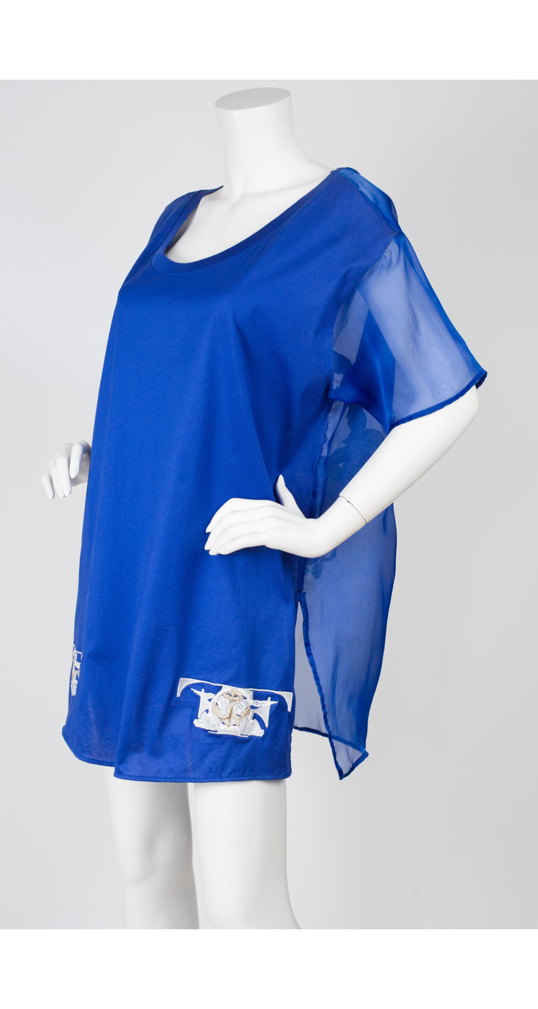 1980s Blue Emblem Logo Silk Organza & Cotton T-Shirt