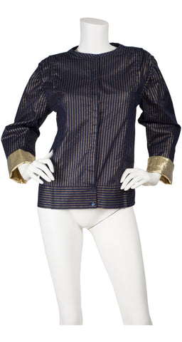 1982 Documented Gold Metallic Pinstripe Blouse