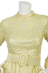 1960s Beaded Yellow Raw Silk Evening Gown