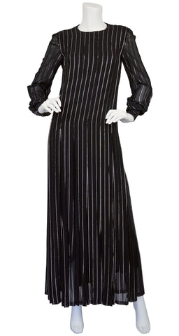 1970s Silver Metallic Black Chiffon Pleated Gown