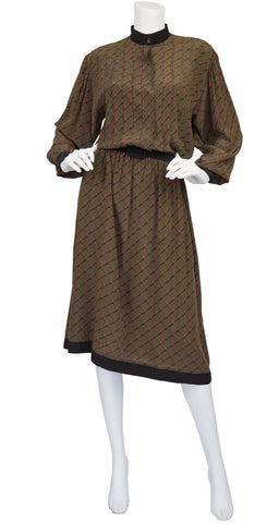 1970s Brown Graphic Silk Dolman Sleeve Shirt Dress