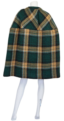 1960s Mod Green Plaid Wool Cape