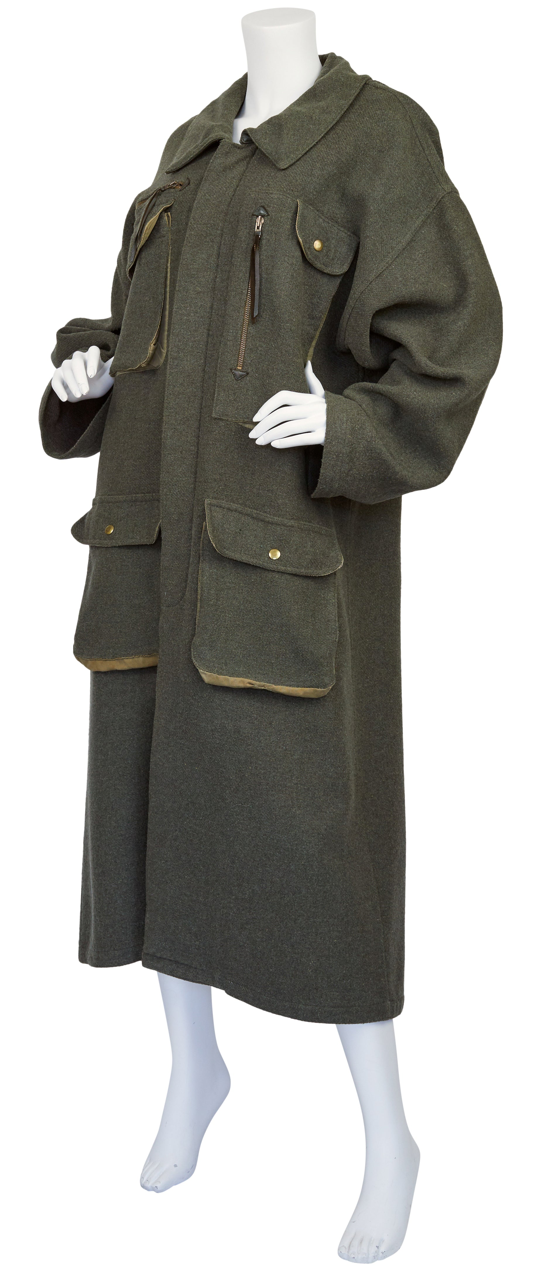 1970s Ko and Co Long Green Wool Hunting Coat