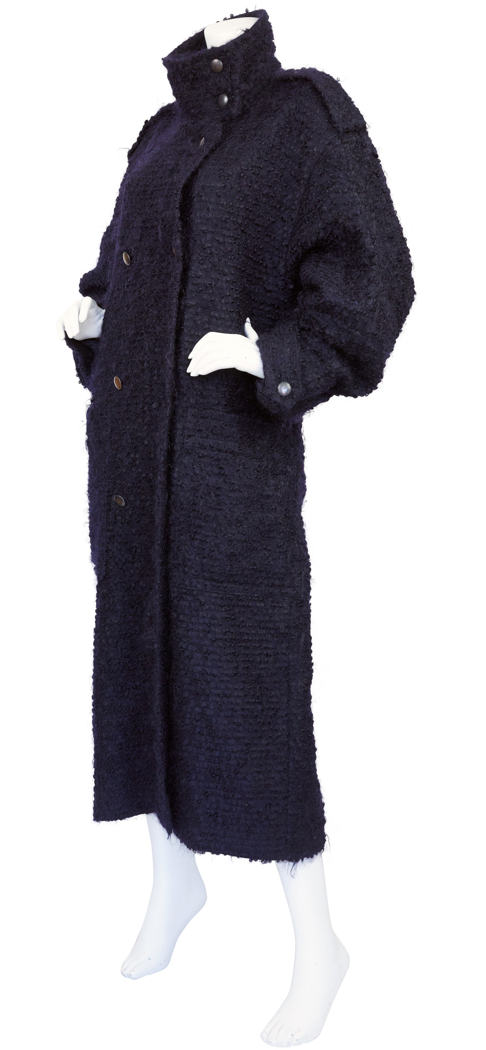 1980s Navy Fuzzy Wool Double-Breasted Coat