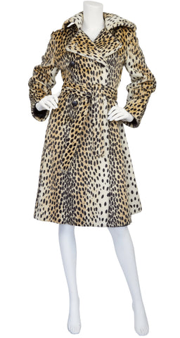 1960s Leopard Print Faux Fur Double-Breasted Coat