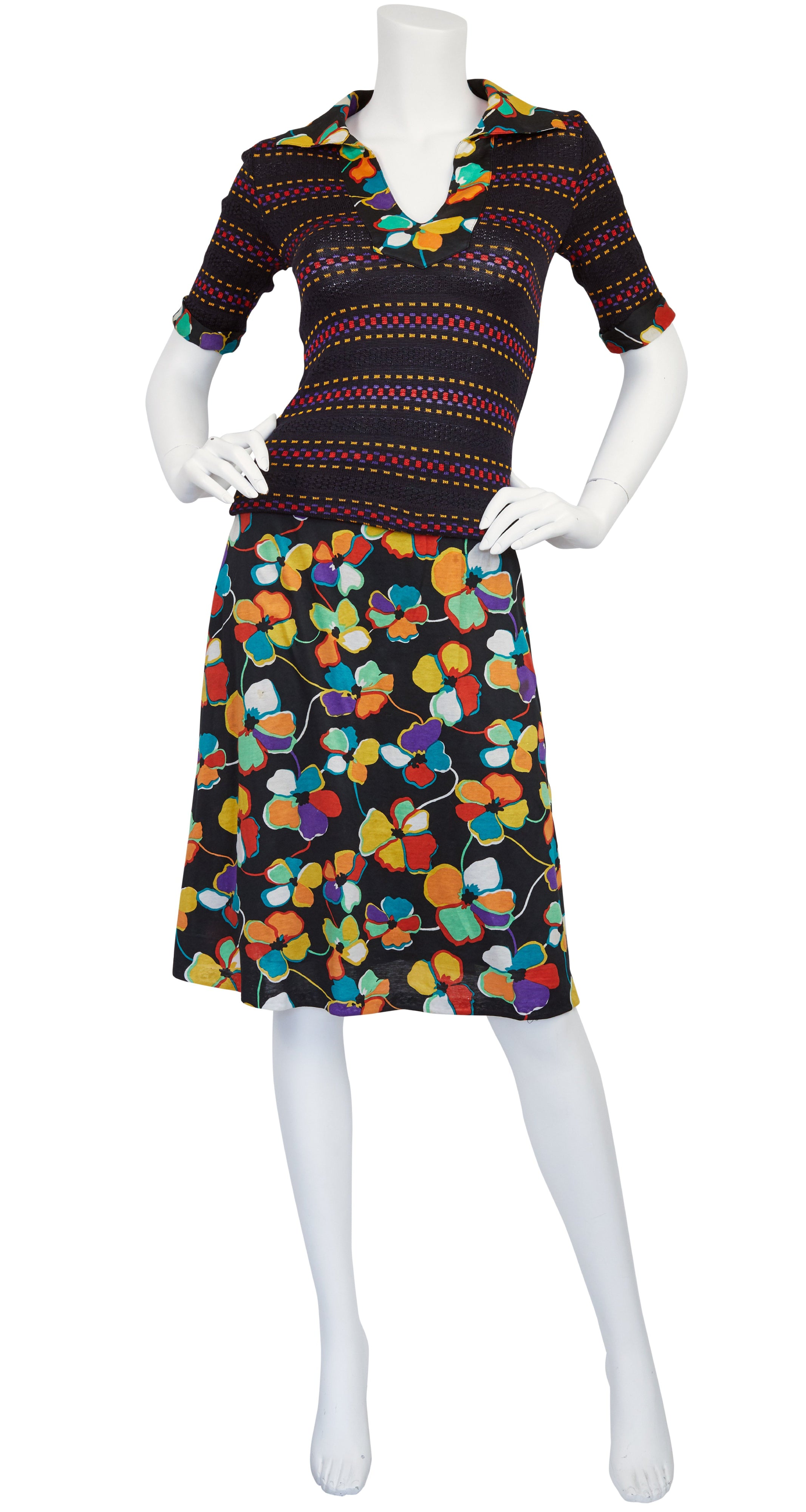 c. 1972 Knit and Floral Jersey Two-Piece Skirt Set