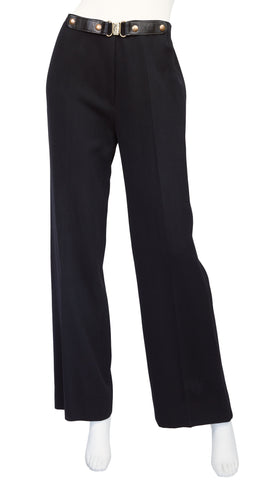 1970s Black Wool Wide-Leg Trousers
