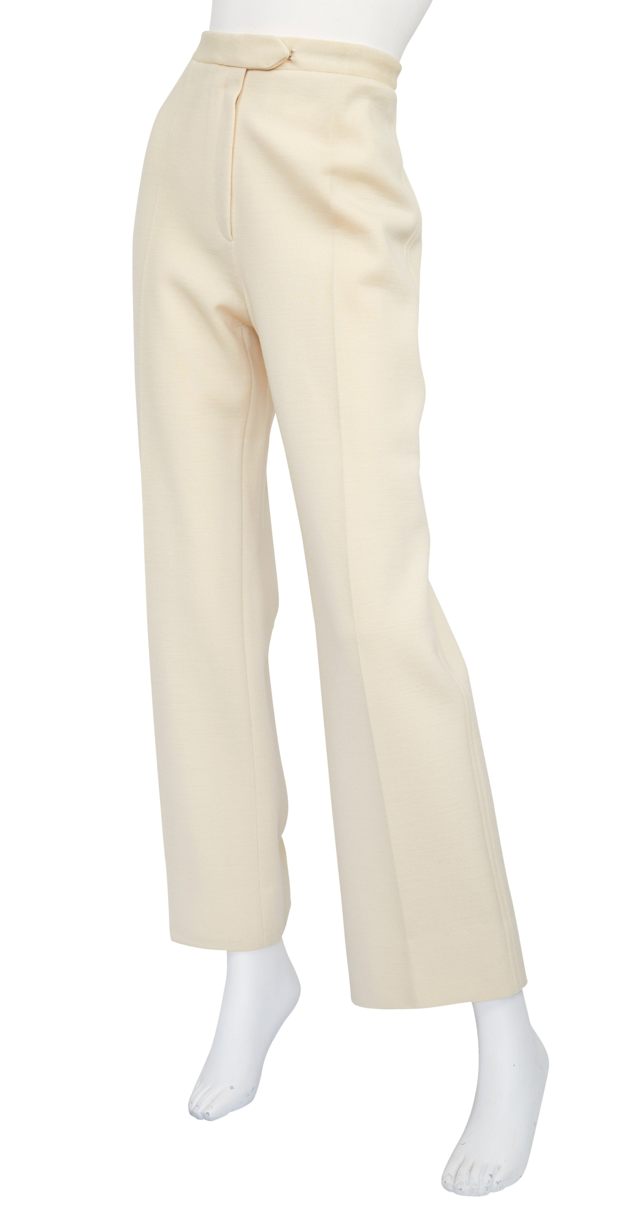 1970s Cream Wool Jersey Wide-Leg Trousers