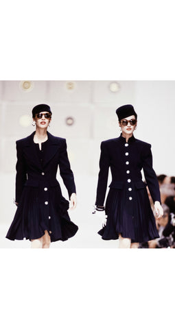 1989 F/W Runway Navy Wool Accordion Pleated Skirt Coat
