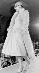 1978 F/W Runway Beige Wool Bouclé Fur Trim Coat