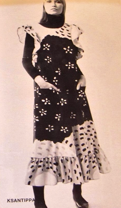1973 Documented Catalog Floral Cotton Apron Dress