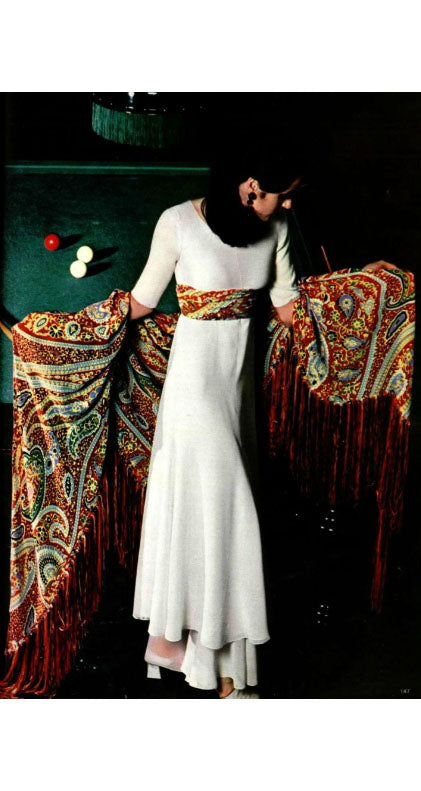 1970 Haute Couture Cream Silk Chiffon Tassel Jumpsuit
