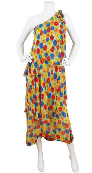 1974 Documented Floral Silk Chiffon Dress