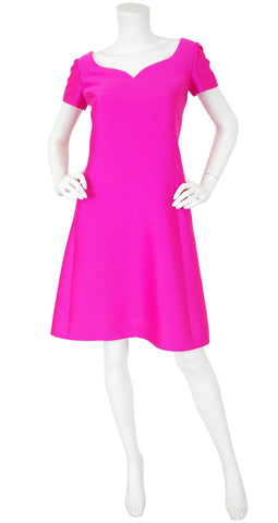 1960s Mod Hot Pink Silk A-Line Dress