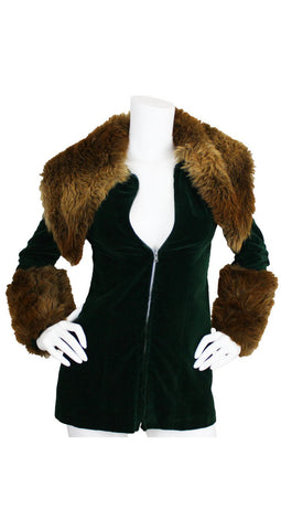 1970's Documented Green Velvet Faux Fur Jacket