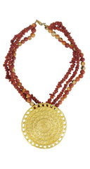 1970s Deadstock Statement Gold Medallion Necklace