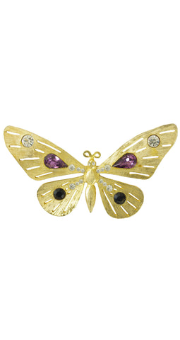 1970s Deadstock Large Rhinestone Gold Butterfly Brooch