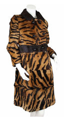 1960's Tiger Striped Double Breasted Fur Coat
