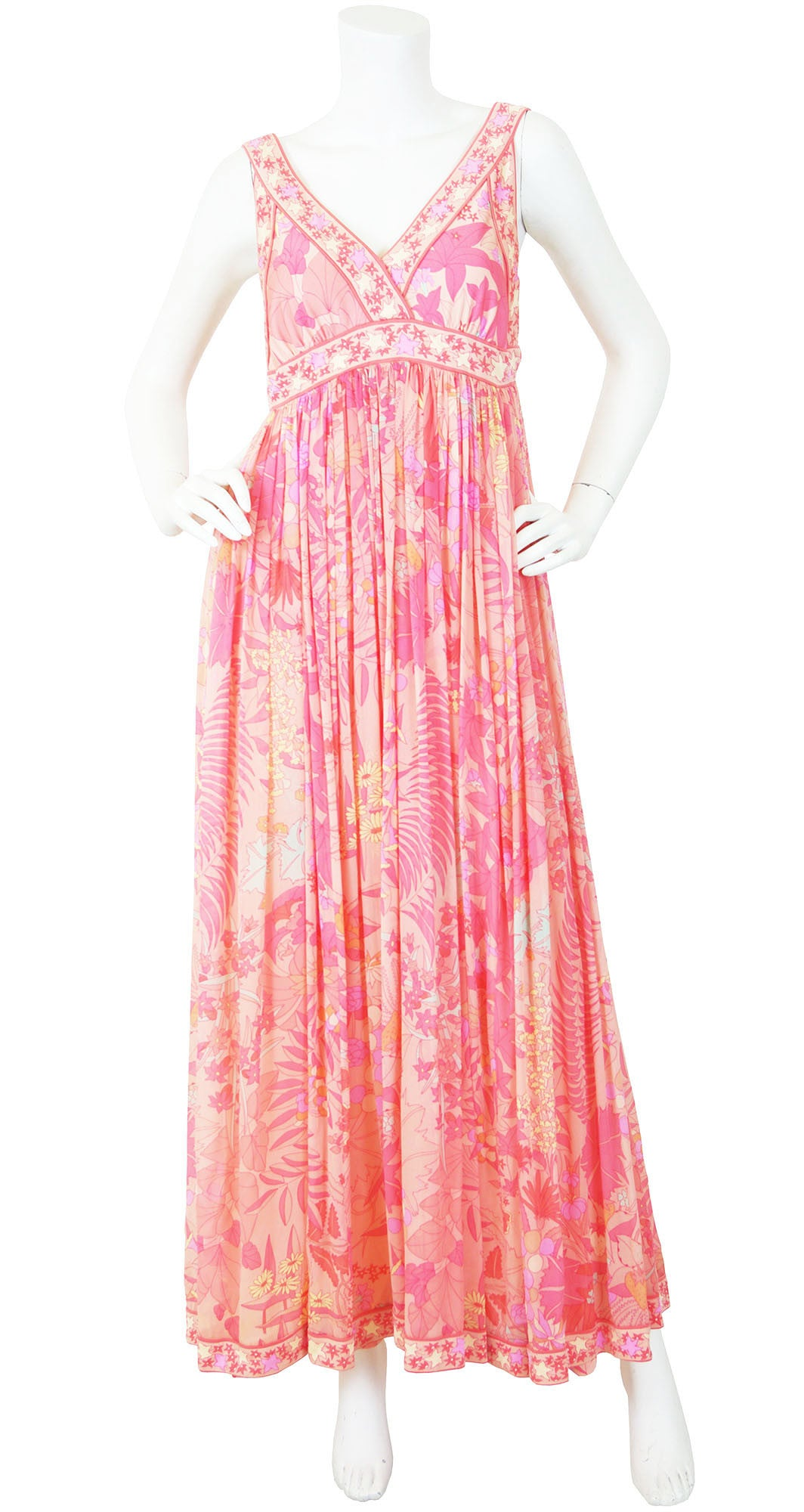 1960's Fruit & Floral Print Pink Silk Chiffon Jersey Gown
