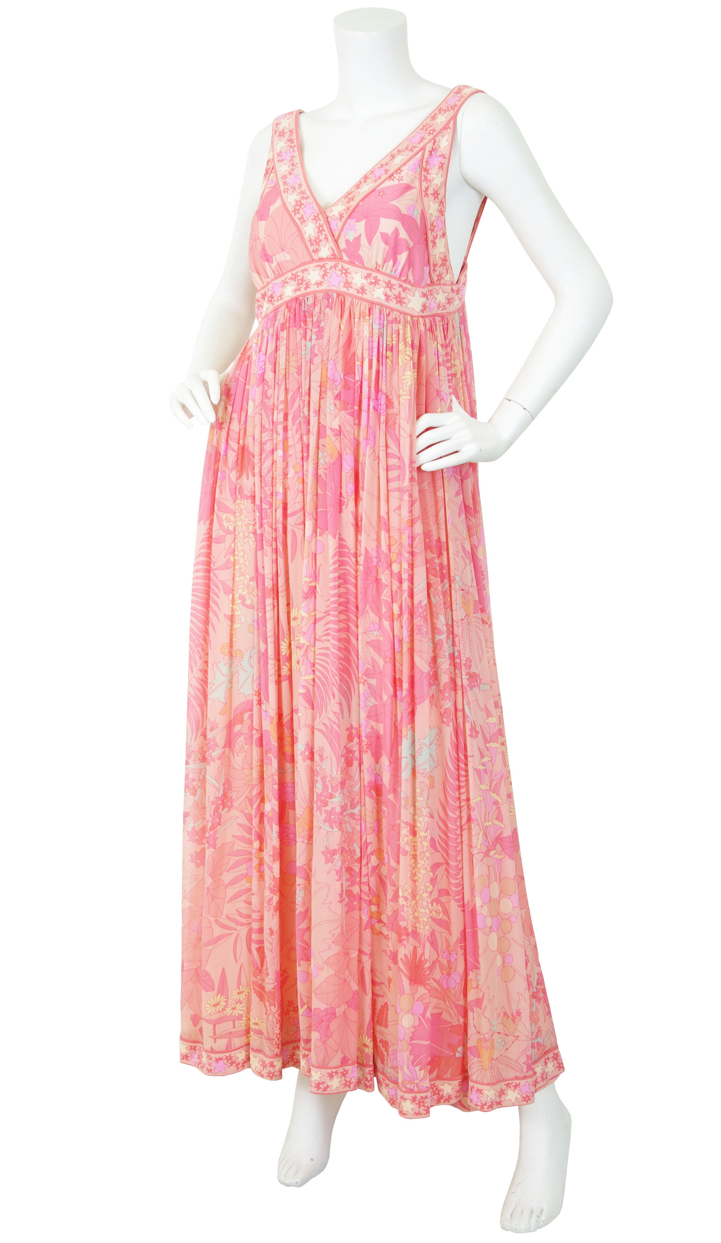 1960s Fruit & Floral Print Pink Silk Chiffon Jersey Gown