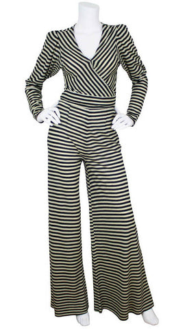 1970's Striped Wool Jersey Pantsuit