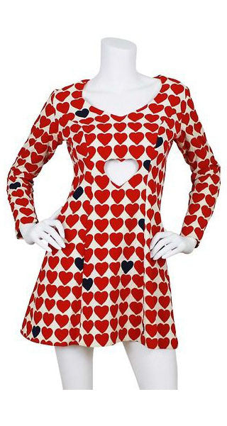 Rare Heart Cut-Out Novelty Print Dress