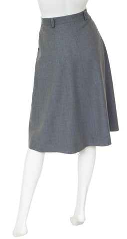 1970s Grey Wool Pleated Skirt