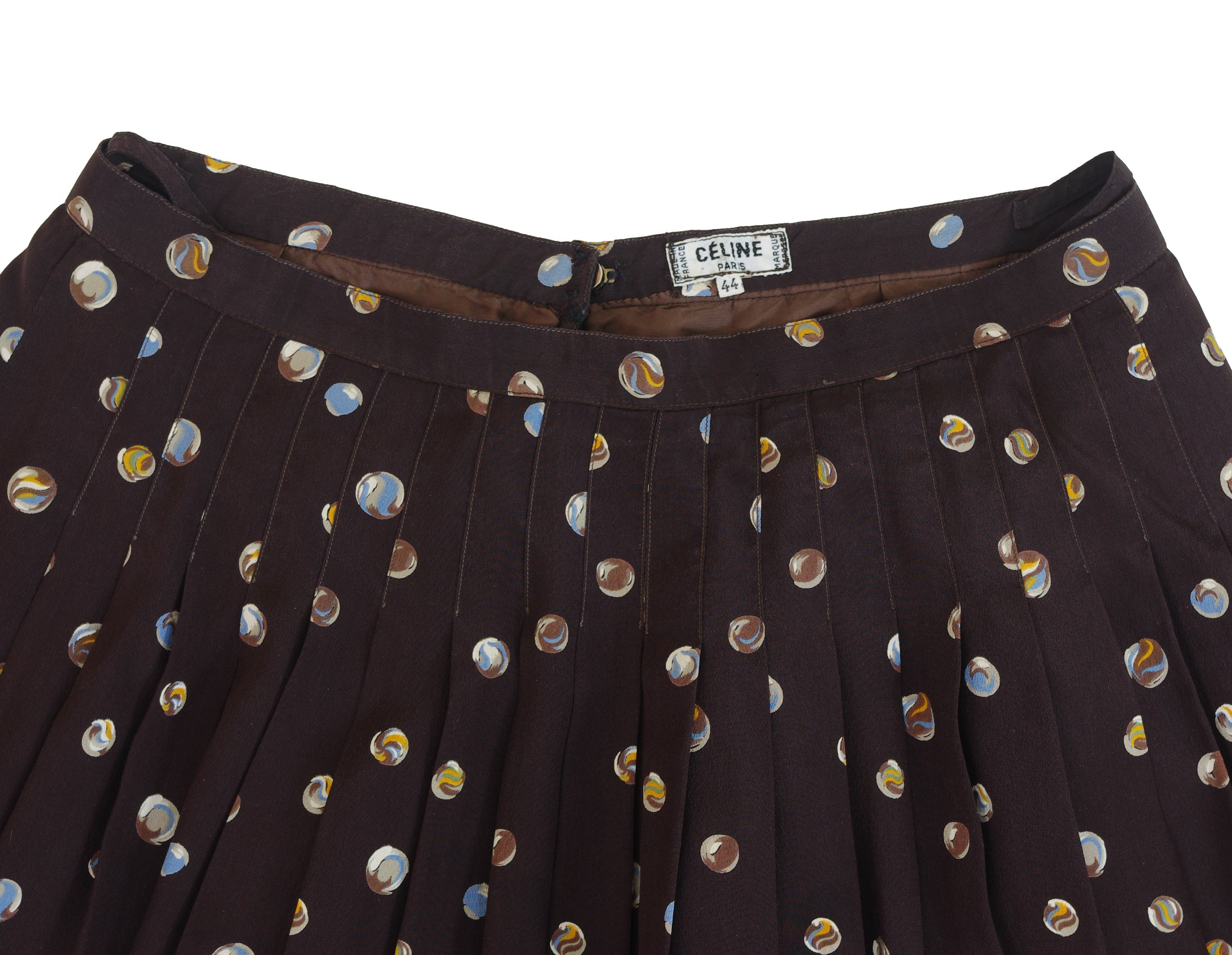1970s Marble Print Brown Silk Pleated Silk