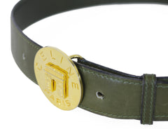 1990's Paris Arc de Triomphe Signature Green Leather Belt