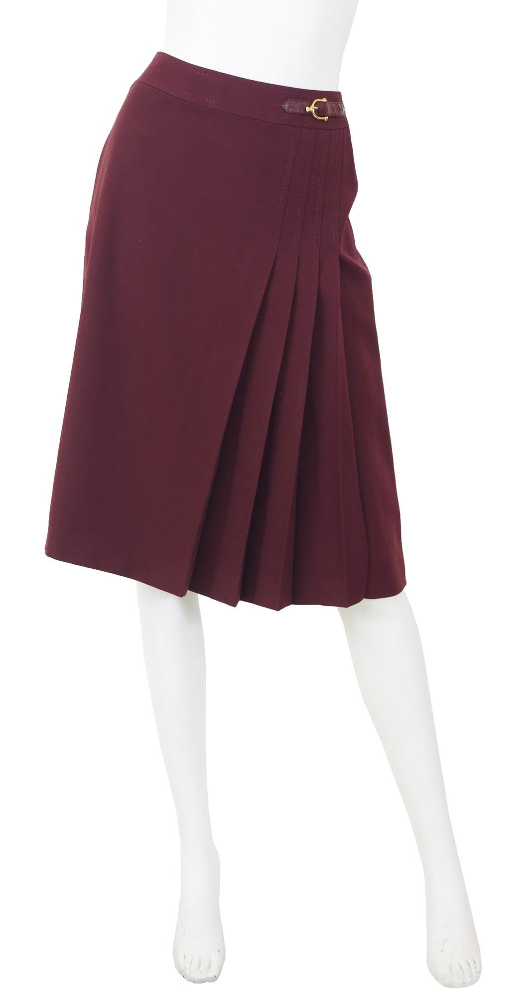 1970s Burgundy Wool Pleated Horsebit Skirt