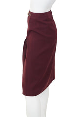1970's Burgundy Wool Pleated Horsebit Skirt