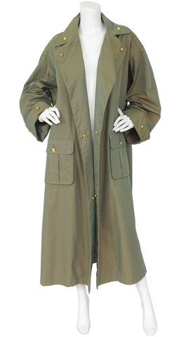 1980s Iridescent Army Green Logo Button Trench Coat