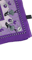 Large Deco Print Purple Silk Crepe Signature Scarf