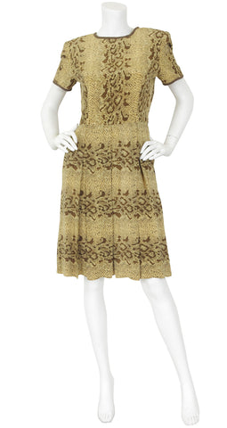 1990's Snakeskin Print Silk Pleated Dress