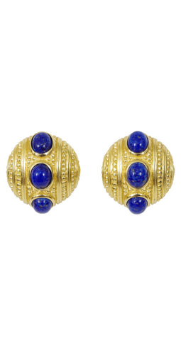 1980's Faux Lapis Gold Tone Clip On Earrings