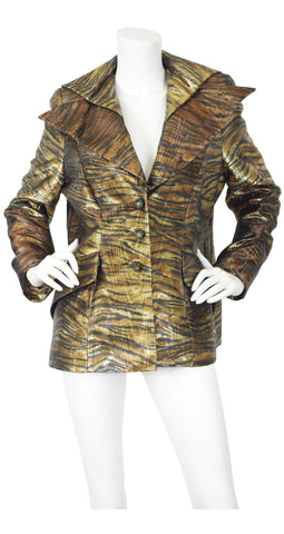 1980's Glam Metallic Tiger Striped Jacket
