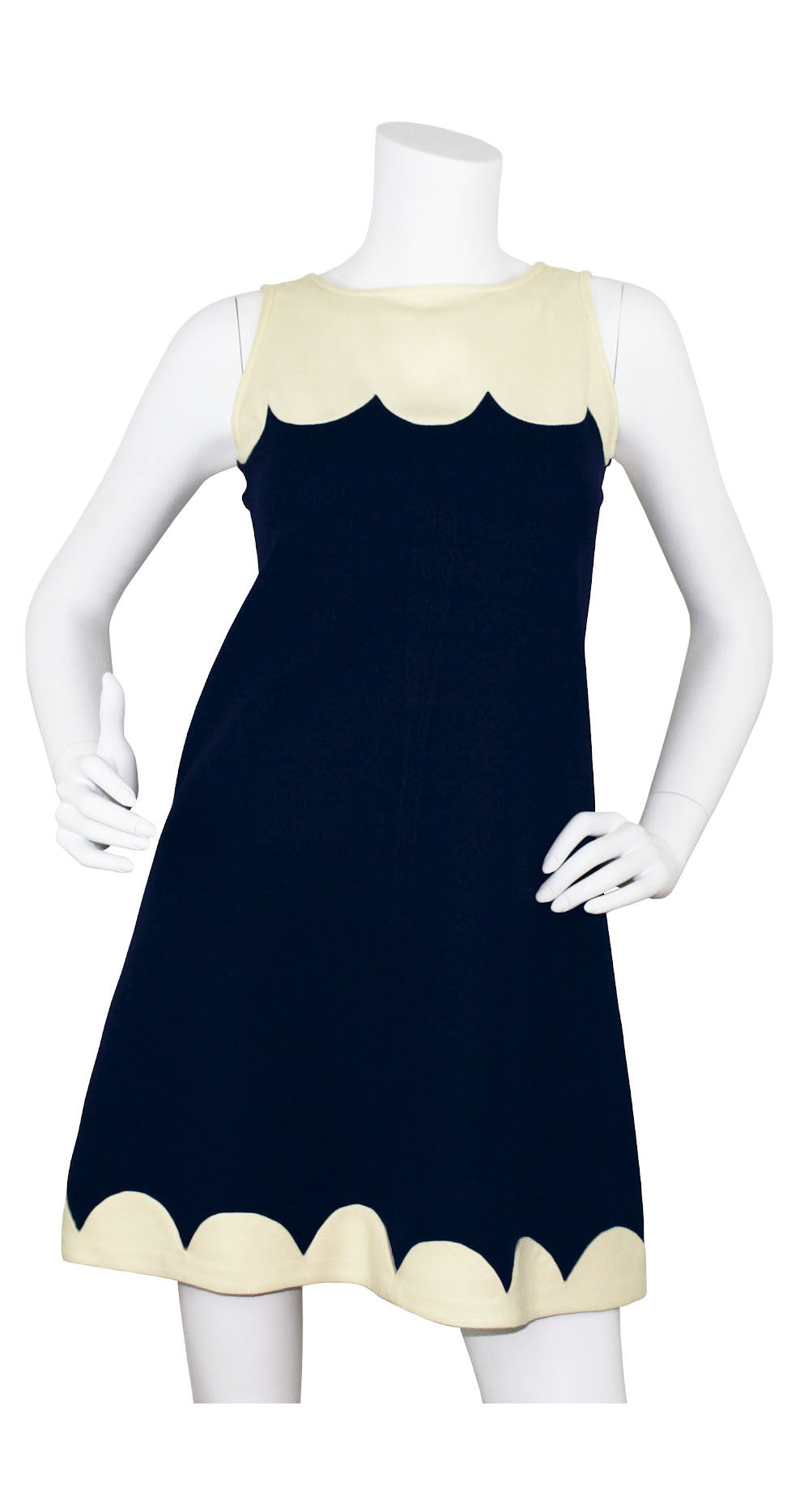 c.1968 Couture Scalloped Wool Mini Dress