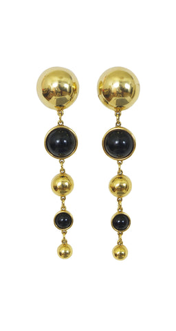 Ultra Mod Gold and Black Clip-On Drop Earrings