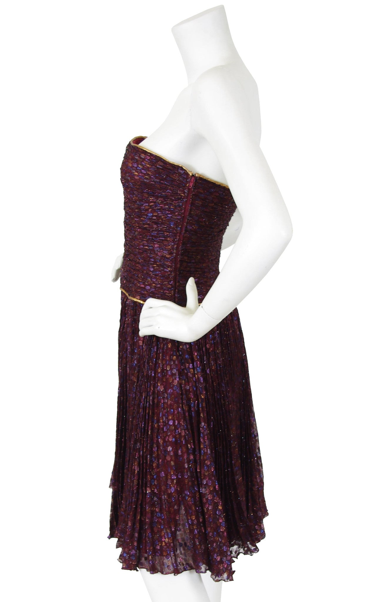 Couture 1980s Metallic Silk Chiffon Party Dress