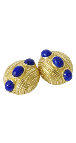 1980s Faux Lapis Gold Tone Clip On Earrings