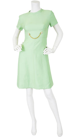 1960s Mod Mint Green Chain Link Cocktail Dress