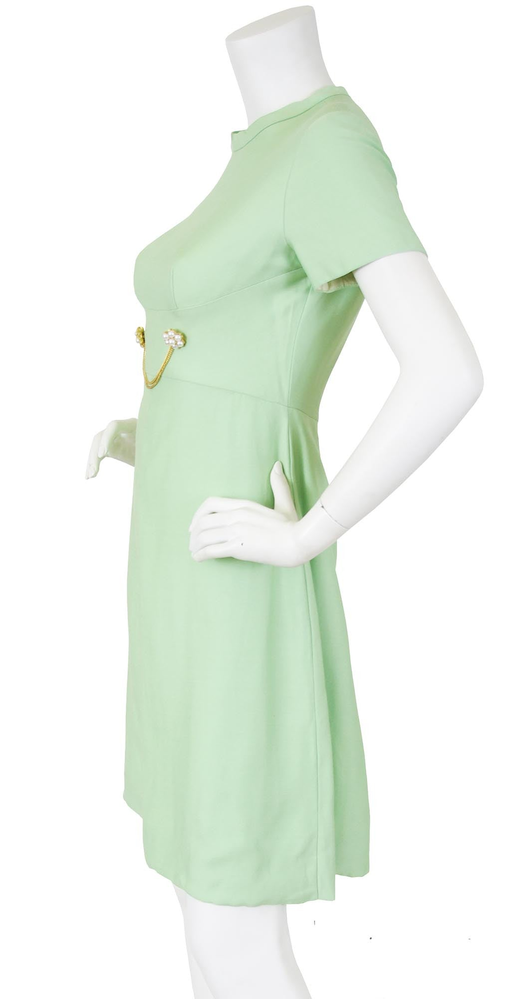 1960's Mod Mint Green Chain Link Cocktail Dress