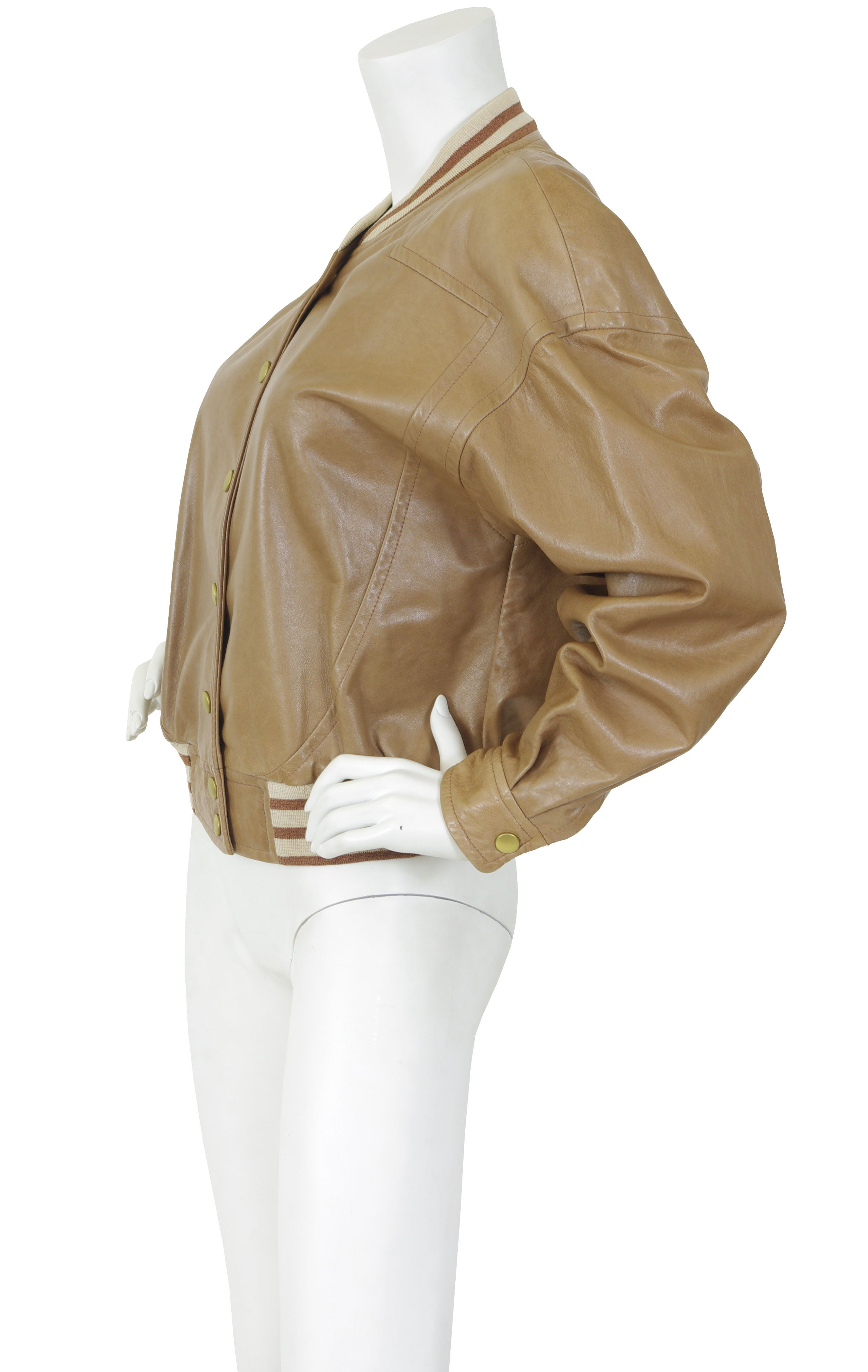 1980s Brown Leather Baseball Jacket w/ Tiger Print Silk Lining