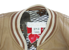 Brown Leather Baseball Jacket w/ Tiger Print Silk Lining