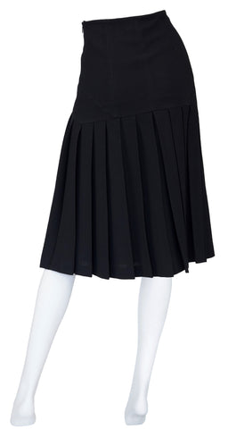 1990s Black Wool Crepe Pleated Knee-Length Skirt