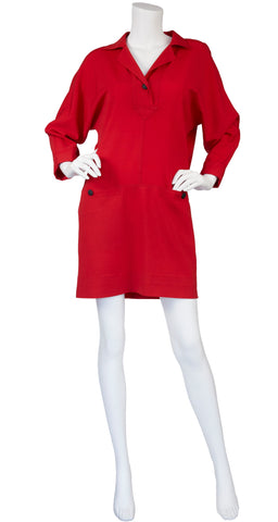 1980s Red Wool Challis Sack Dress