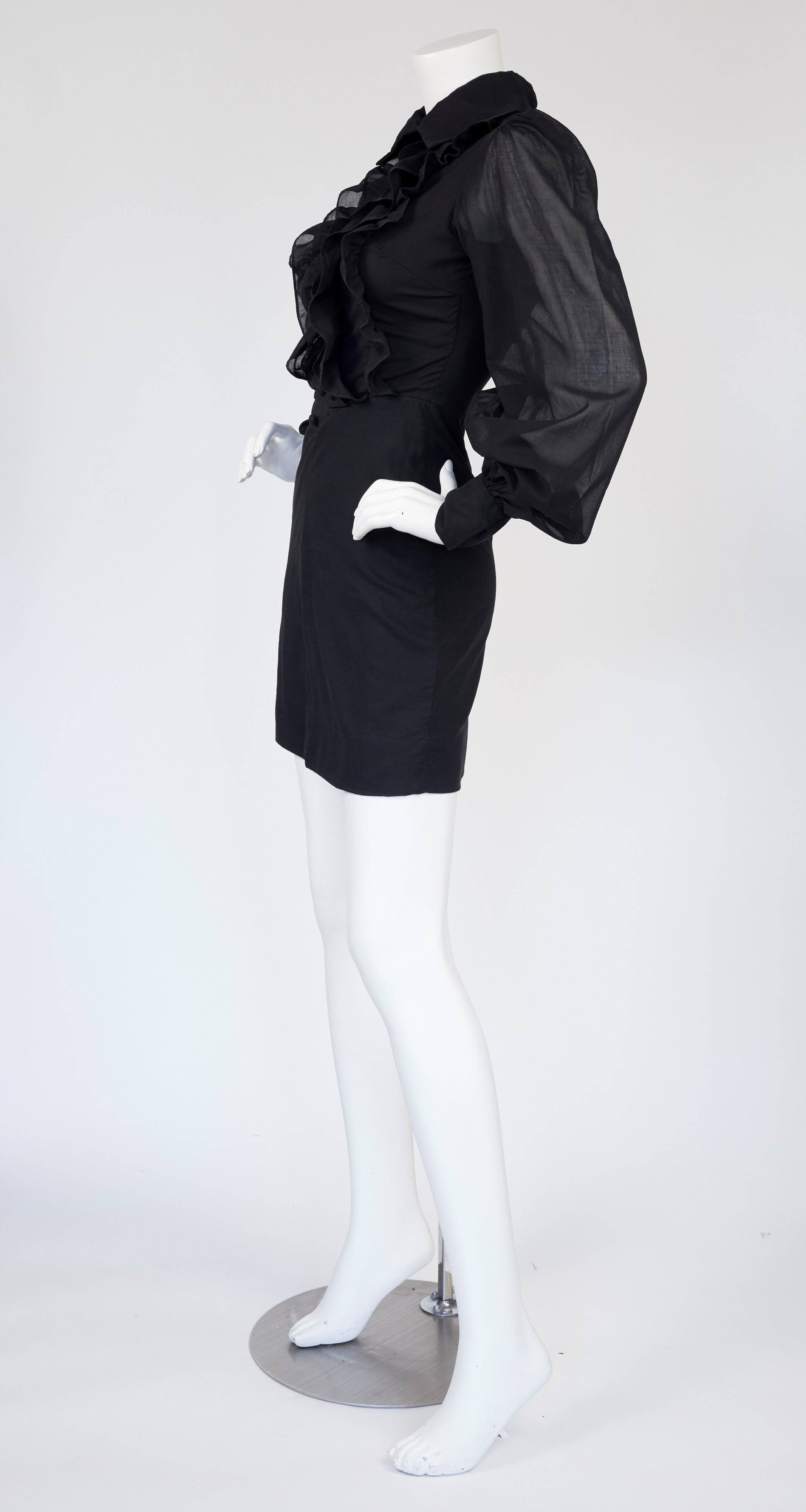 1960s Balloon Sleeve Ruffle Tuxedo Dress