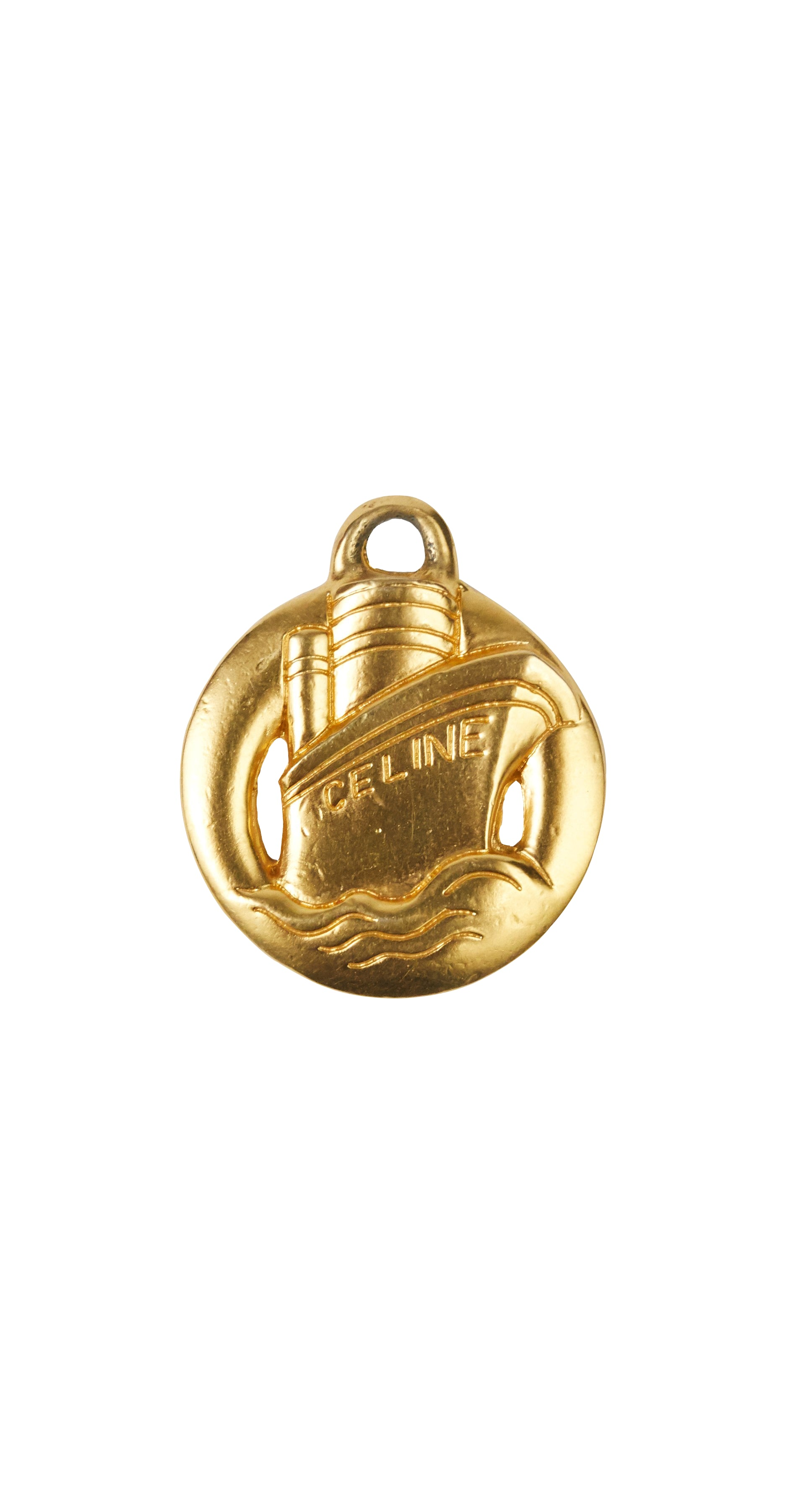1990s Ship Motif Gold-Plated Pendant Charm