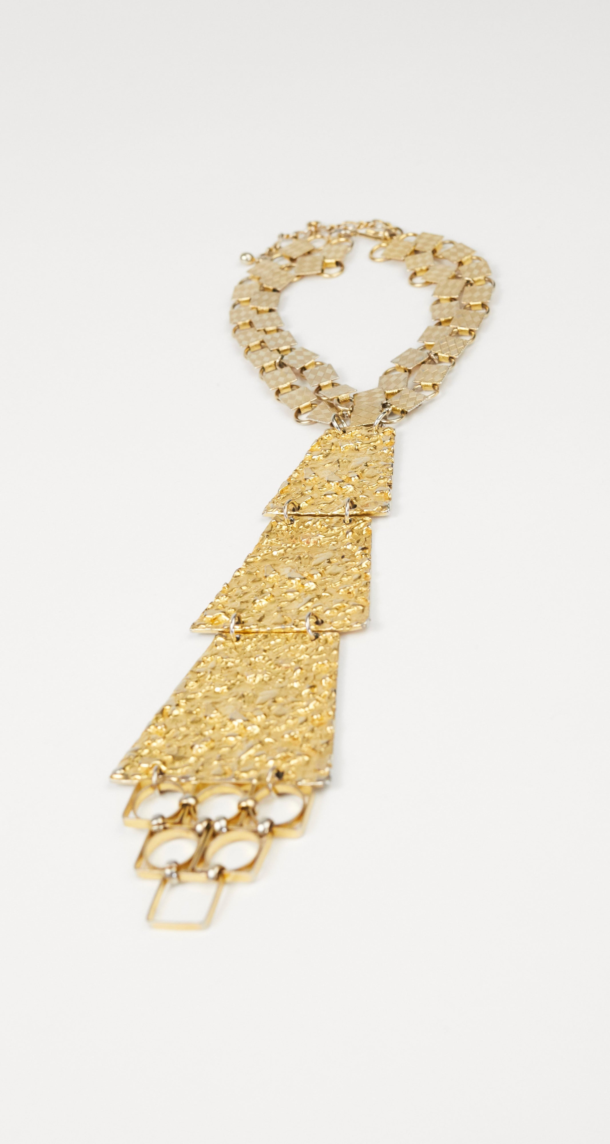 1970s Egyptian Revival Tiered Gold Necklace