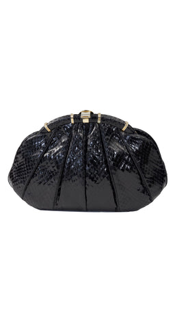 1980s Black Genuine Snakeskin & Gold Bag